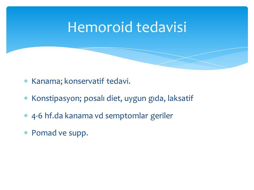 Hemoroid tedavisi Kanama; konservatif tedavi.