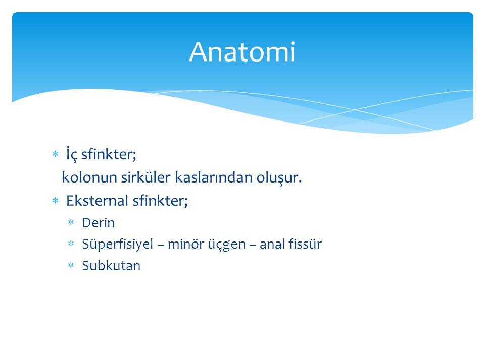 Anatomi İç sfinkter; kolonun sirküler kaslarından oluşur.