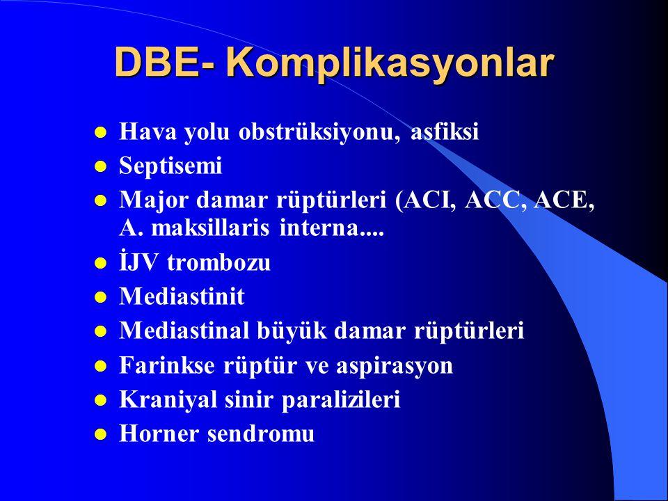 DBE- Komplikasyonlar Hava yolu obstrüksiyonu, asfiksi Septisemi