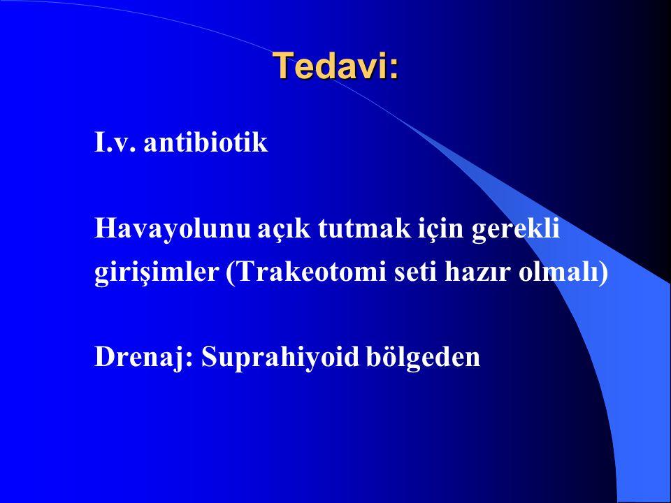 Tedavi: I.v. antibiotik Havayolunu açık tutmak için gerekli