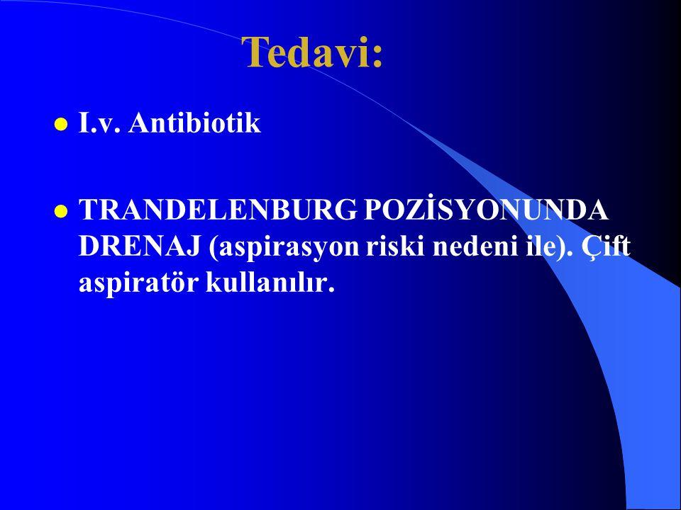 Tedavi: I.v. Antibiotik. TRANDELENBURG POZİSYONUNDA DRENAJ (aspirasyon riski nedeni ile).