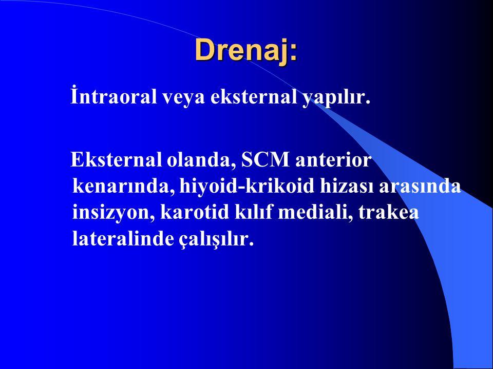 Drenaj: İntraoral veya eksternal yapılır.