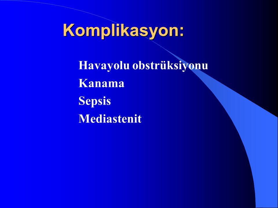 Komplikasyon: Havayolu obstrüksiyonu Kanama Sepsis Mediastenit