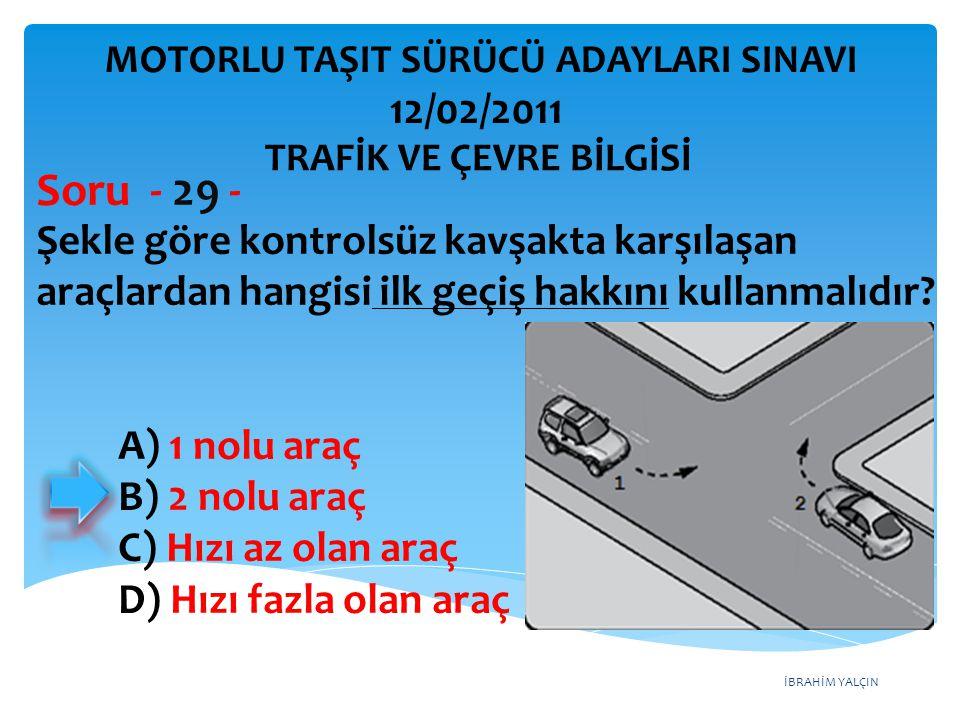 Soru - 29 - 12/02/2011 Şekle göre kontrolsüz kavşakta karşılaşan