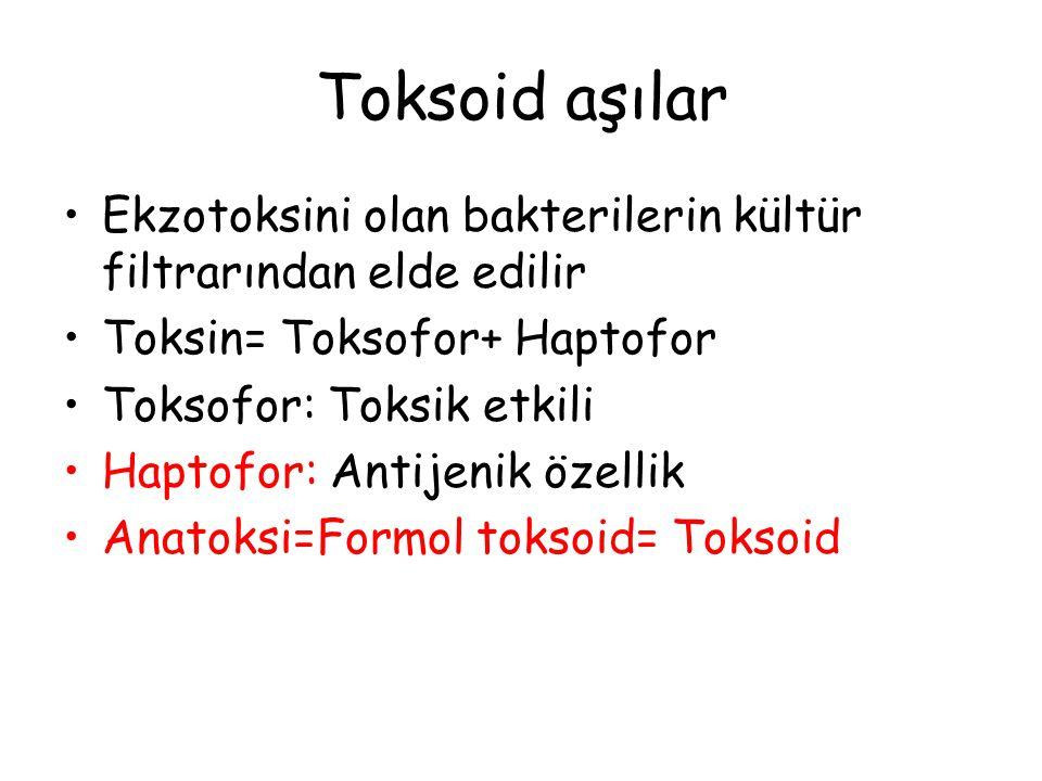 Toksoid aşılar Ekzotoksini olan bakterilerin kültür filtrarından elde edilir. Toksin= Toksofor+ Haptofor.