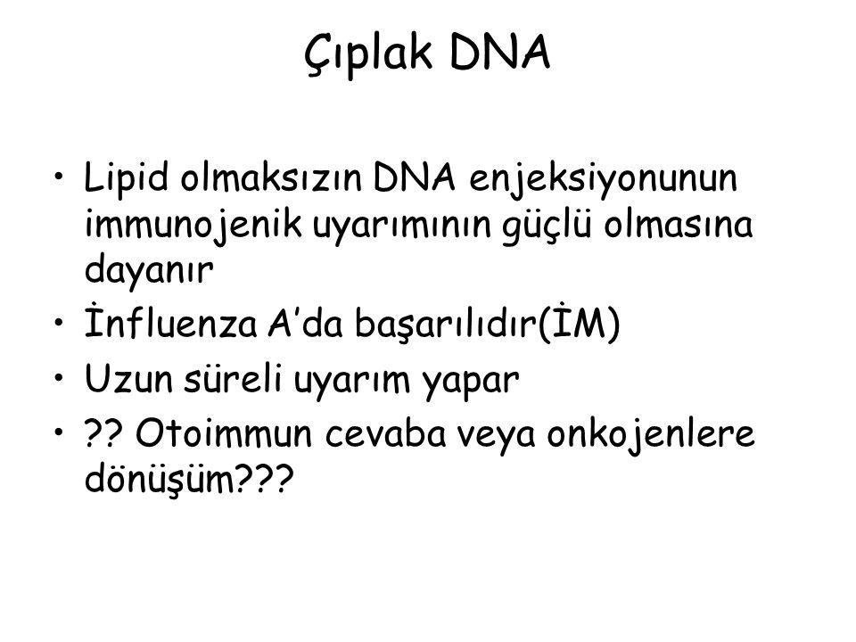 Çıplak DNA Lipid olmaksızın DNA enjeksiyonunun immunojenik uyarımının güçlü olmasına dayanır. İnfluenza A'da başarılıdır(İM)
