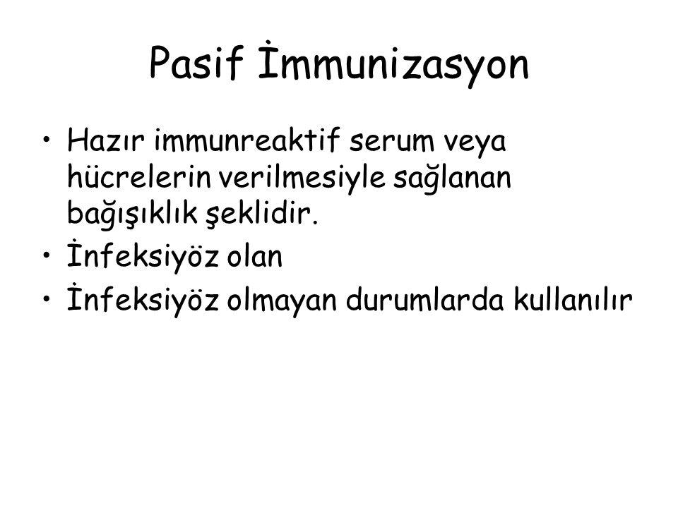 Pasif İmmunizasyon Hazır immunreaktif serum veya hücrelerin verilmesiyle sağlanan bağışıklık şeklidir.
