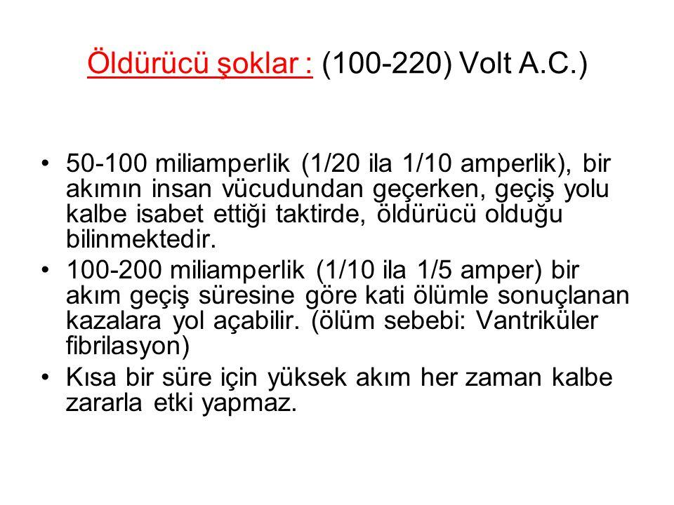 Öldürücü şoklar : (100-220) Volt A.C.)