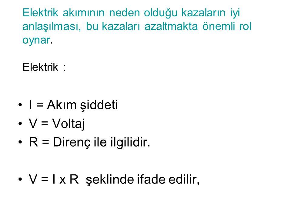 R = Direnç ile ilgilidir. V = I x R şeklinde ifade edilir,
