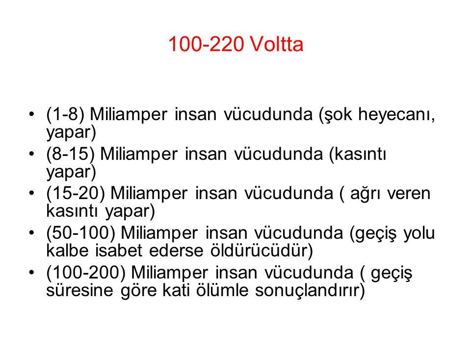 100-220 Voltta (1-8) Miliamper insan vücudunda (şok heyecanı, yapar)