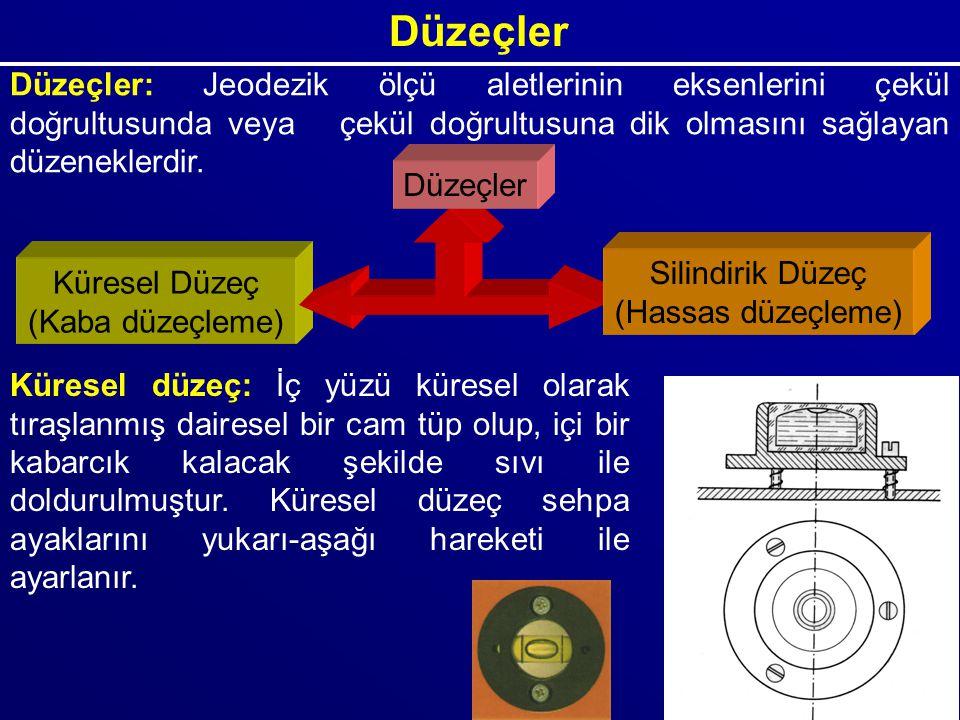 Düzeçler Düzeçler: Jeodezik ölçü aletlerinin eksenlerini çekül doğrultusunda veya çekül doğrultusuna dik olmasını sağlayan düzeneklerdir.