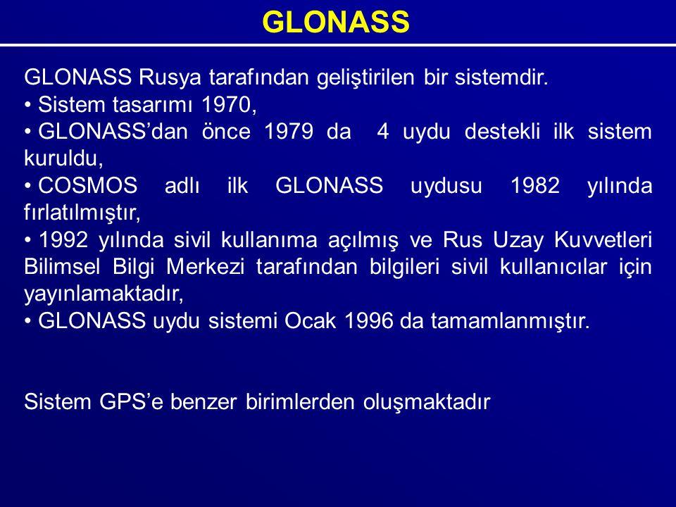 GLONASS GLONASS Rusya tarafından geliştirilen bir sistemdir.