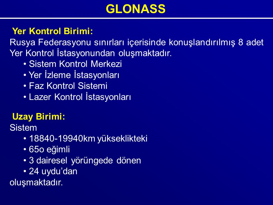 GLONASS Yer Kontrol Birimi: