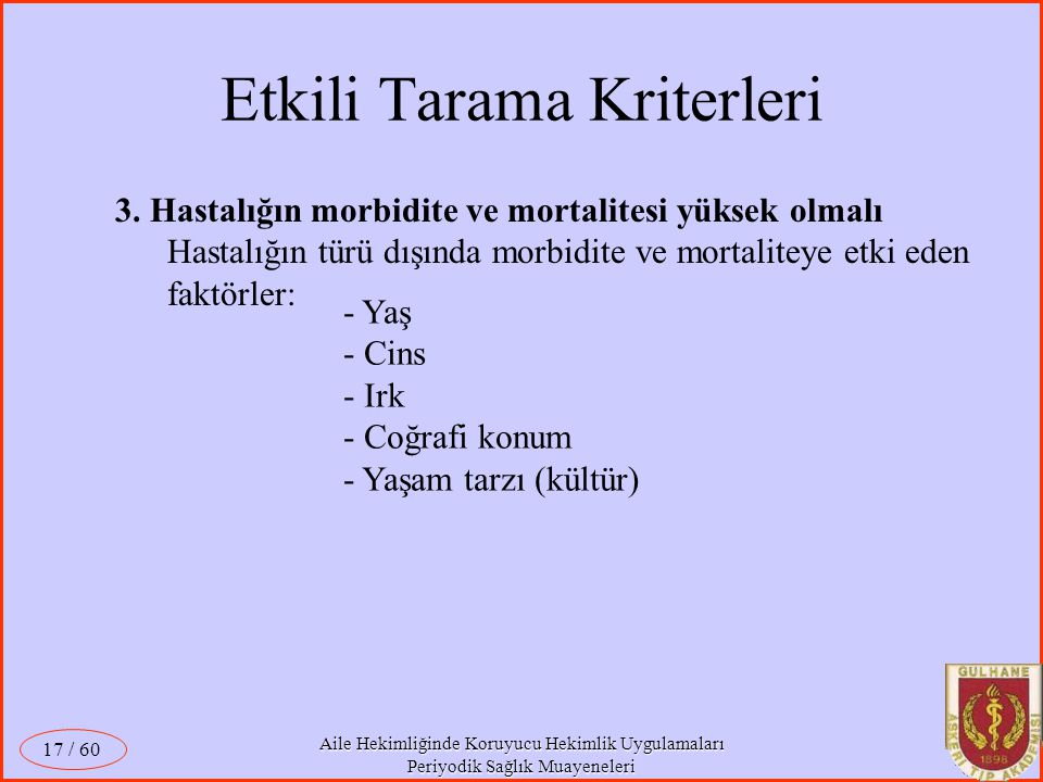 Etkili Tarama Kriterleri