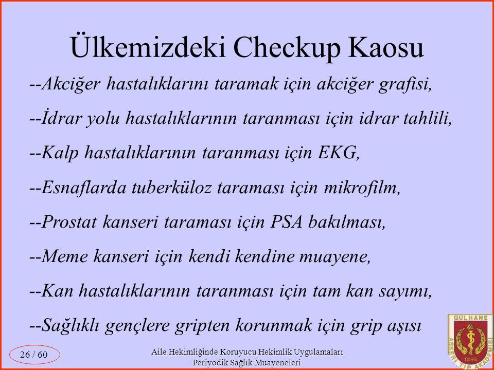 Ülkemizdeki Checkup Kaosu