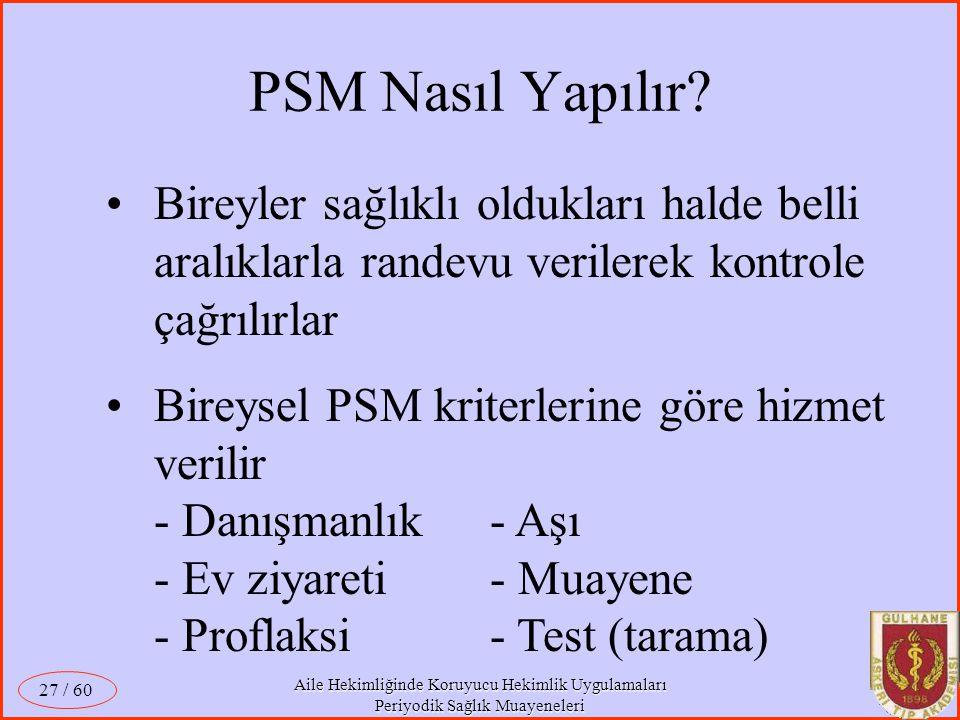 PSM Nasıl Yapılır Bireyler sağlıklı oldukları halde belli aralıklarla randevu verilerek kontrole çağrılırlar.