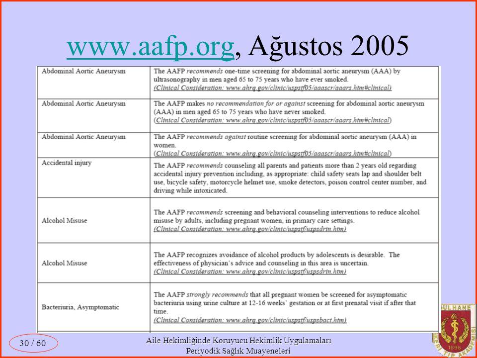 www.aafp.org, Ağustos 2005 / 60