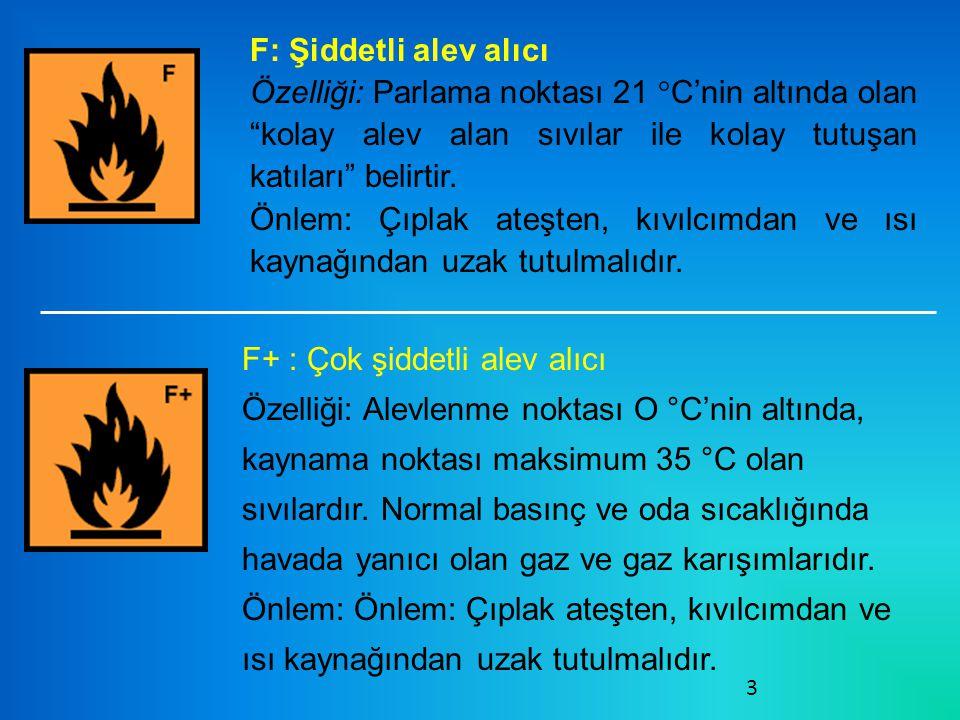 F: Şiddetli alev alıcı Özelliği: Parlama noktası 21 °C'nin altında olan kolay alev alan sıvılar ile kolay tutuşan katıları belirtir.