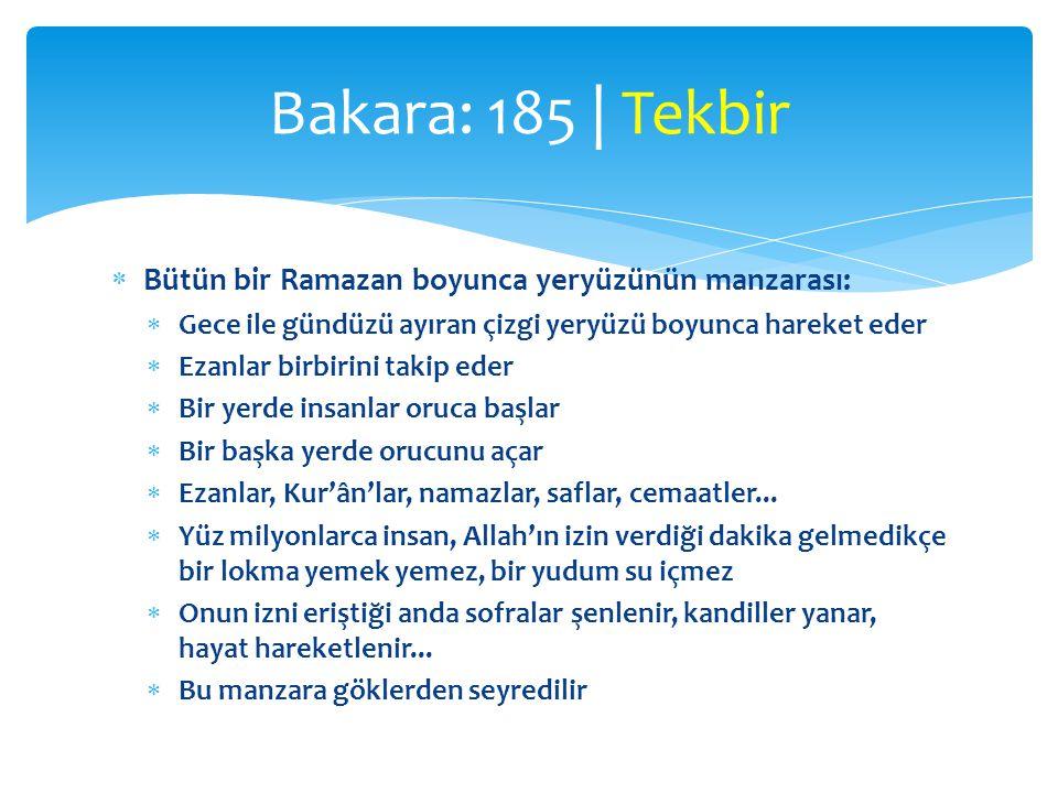 Bakara: 185 | Tekbir Bütün bir Ramazan boyunca yeryüzünün manzarası: