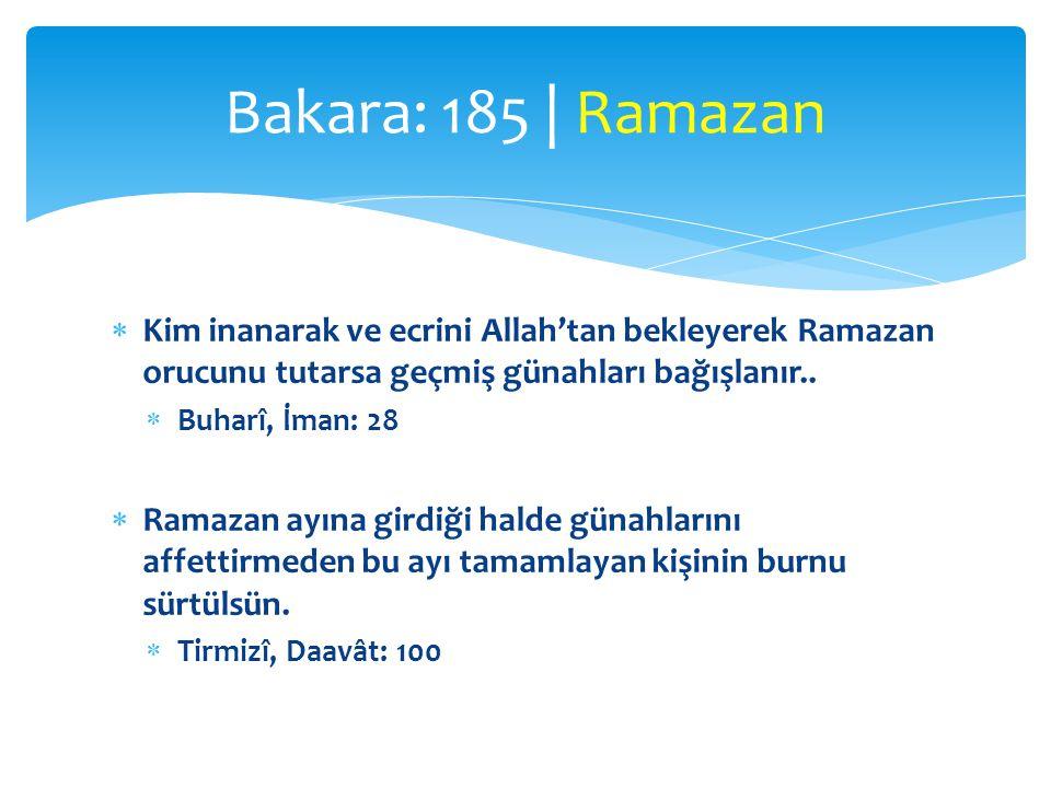 Bakara: 185 | Ramazan Kim inanarak ve ecrini Allah'tan bekleyerek Ramazan orucunu tutarsa geçmiş günahları bağışlanır..