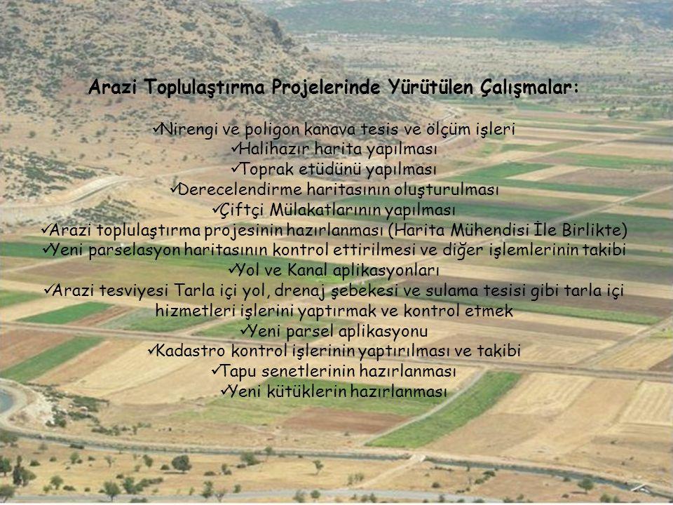 Arazi Toplulaştırma Projelerinde Yürütülen Çalışmalar:
