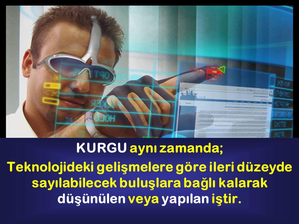 KURGU aynı zamanda; Teknolojideki gelişmelere göre ileri düzeyde sayılabilecek buluşlara bağlı kalarak düşünülen veya yapılan iştir.