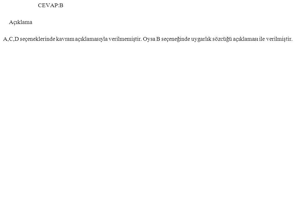 CEVAP:B Açıklama. A,C,D seçeneklerinde kavram açıklamasıyla verilmemiştir.