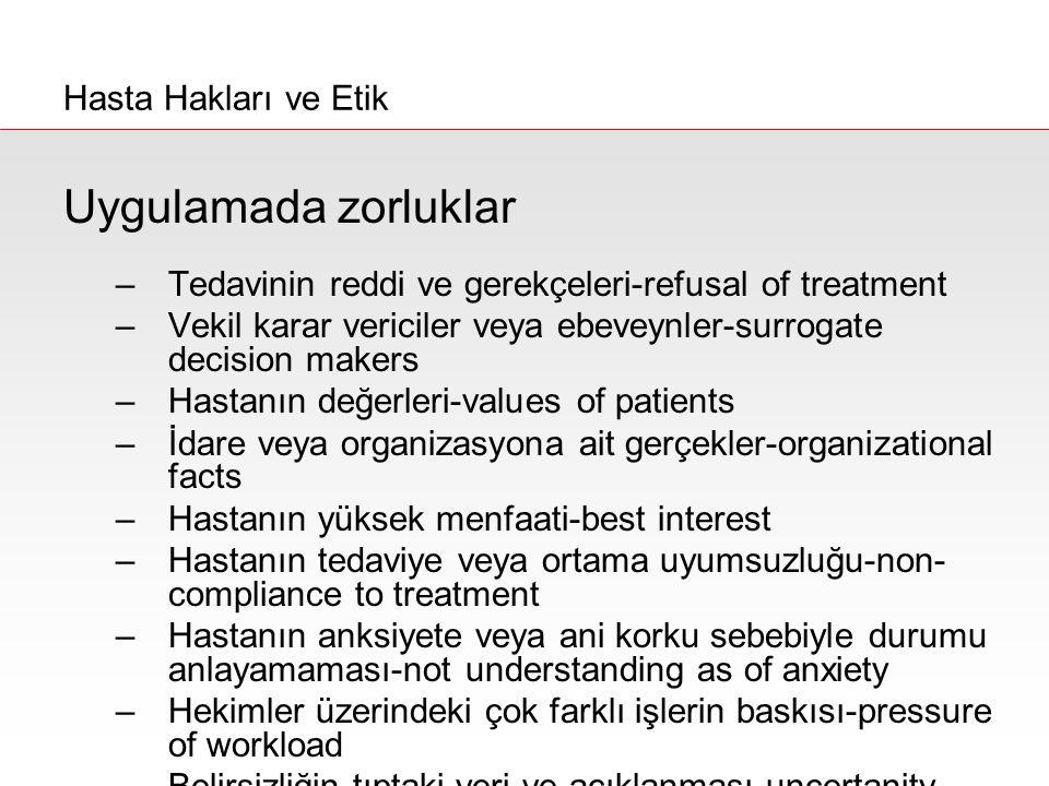 Uygulamada zorluklar Hasta Hakları ve Etik