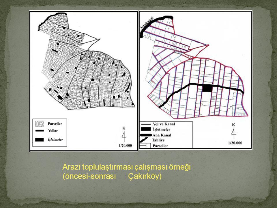 Arazi toplulaştırması çalışması örneği (öncesi-sonrası Çakırköy)