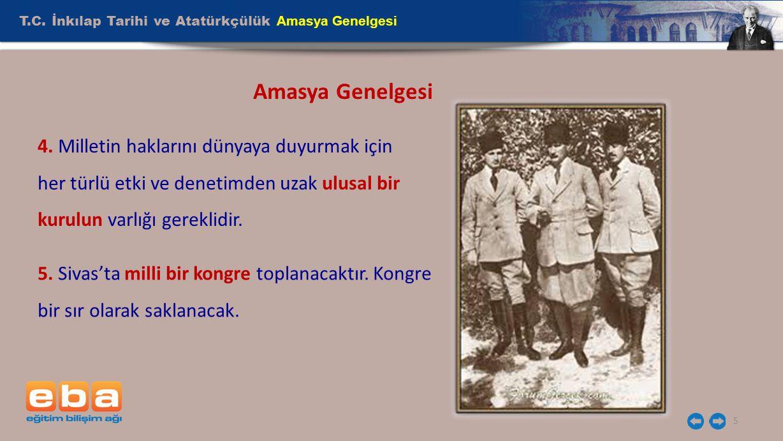 Amasya Genelgesi T.C. İnkılap Tarihi ve Atatürkçülük Amasya Genelgesi