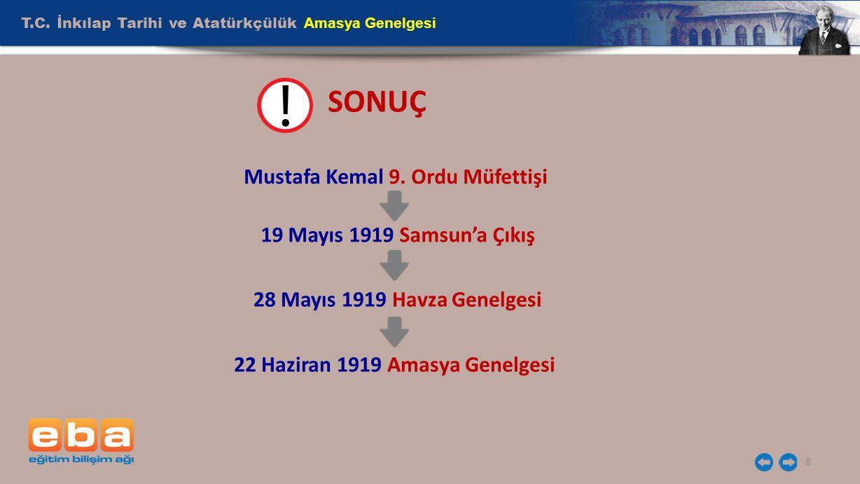 Mustafa Kemal 9. Ordu Müfettişi 22 Haziran 1919 Amasya Genelgesi