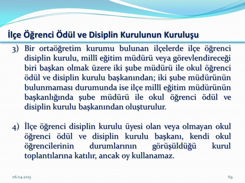 İlçe Öğrenci Ödül ve Disiplin Kurulunun Kuruluşu