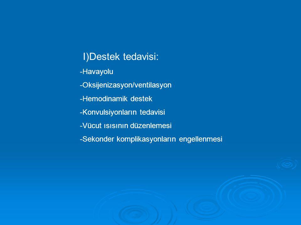 I)Destek tedavisi: -Havayolu -Oksijenizasyon/ventilasyon