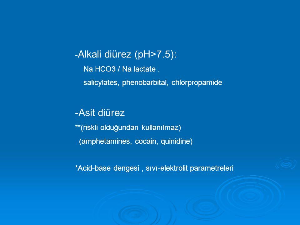 -Asit diürez -Alkali diürez (pH>7.5): Na HCO3 / Na lactate .