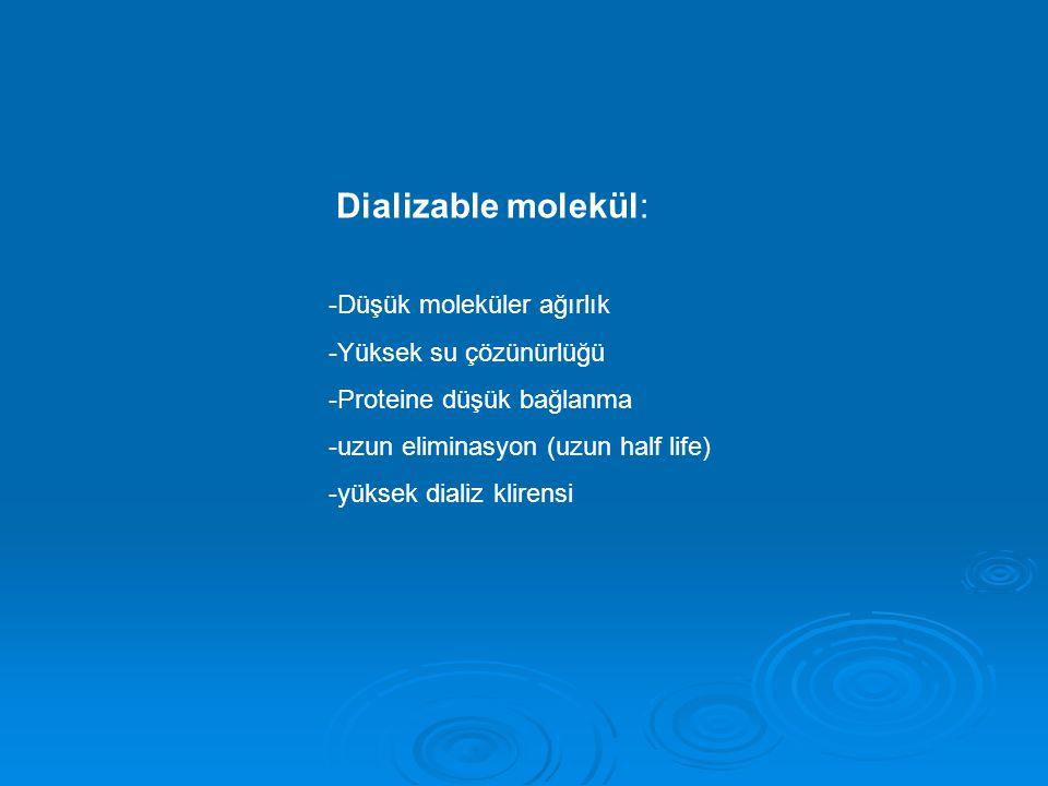 Dializable molekül: -Düşük moleküler ağırlık. -Yüksek su çözünürlüğü. -Proteine düşük bağlanma. -uzun eliminasyon (uzun half life)