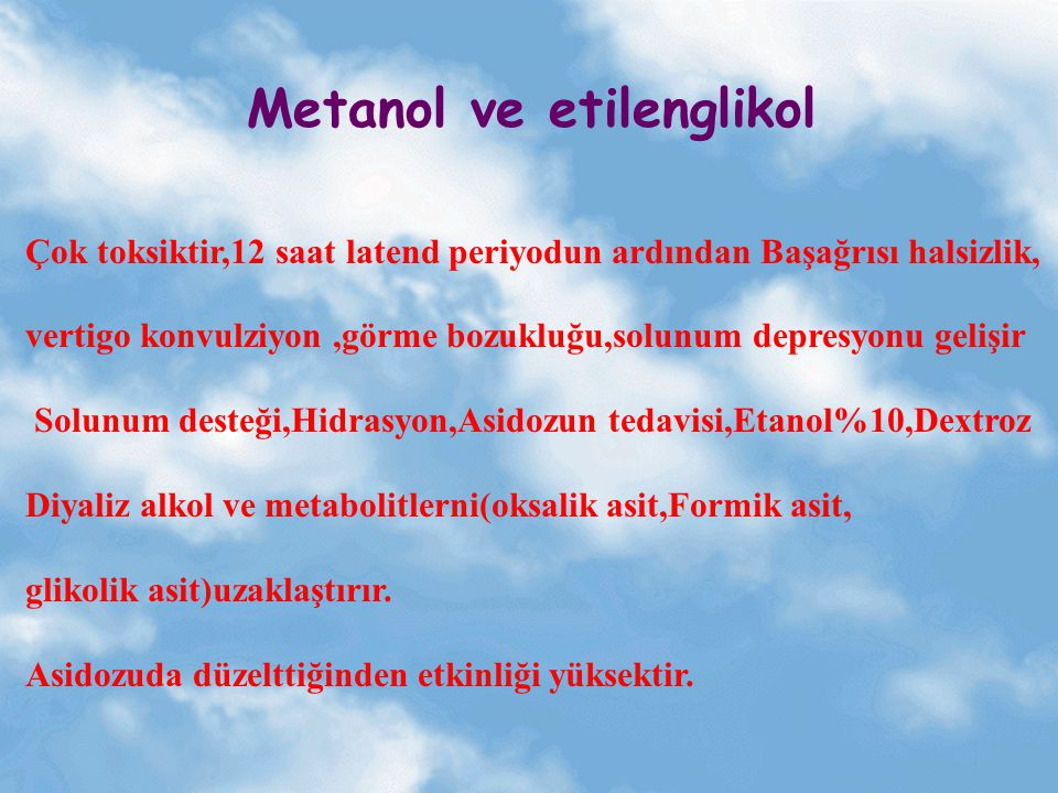 Metanol ve etilenglikol