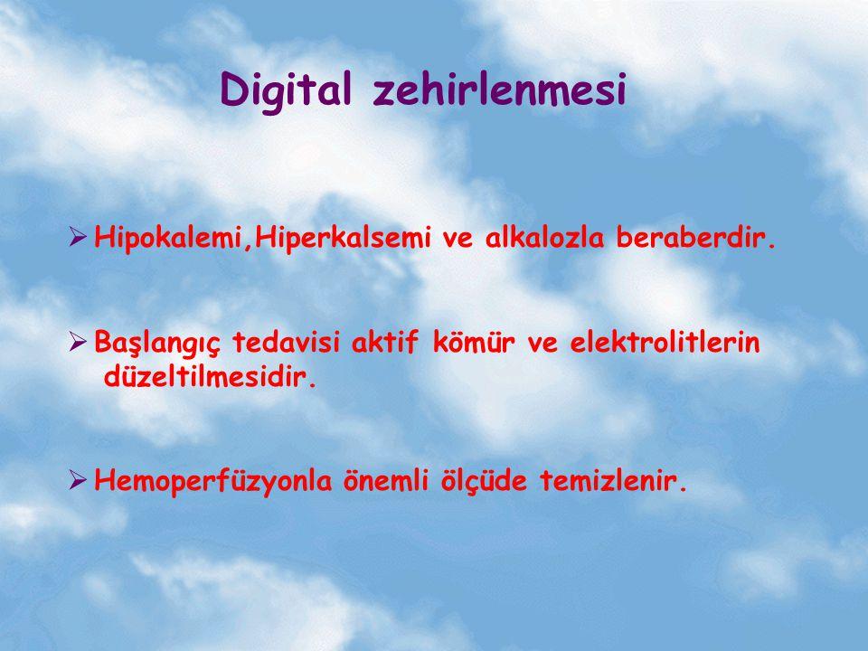 Digital zehirlenmesi Hipokalemi,Hiperkalsemi ve alkalozla beraberdir.