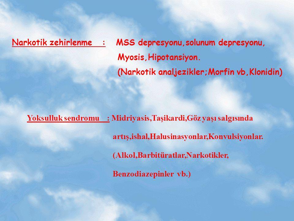 Narkotik zehirlenme : MSS depresyonu,solunum depresyonu,