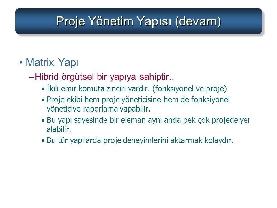 Proje Yönetim Yapısı (devam)
