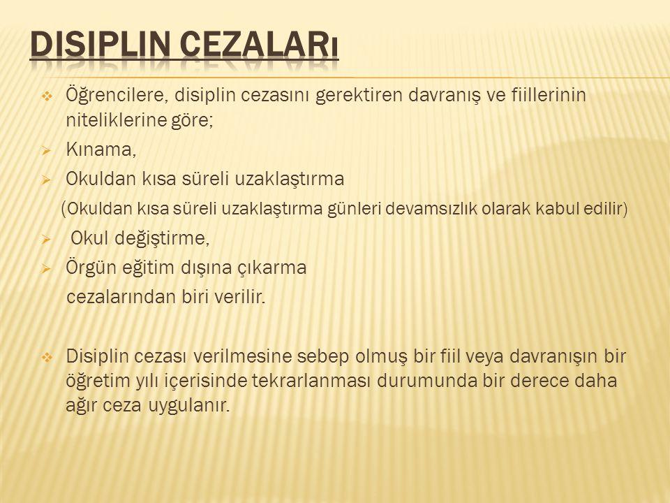 Disiplin Cezaları Öğrencilere, disiplin cezasını gerektiren davranış ve fiillerinin niteliklerine göre;