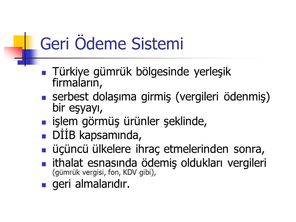 Geri Ödeme Sistemi Türkiye gümrük bölgesinde yerleşik firmaların,