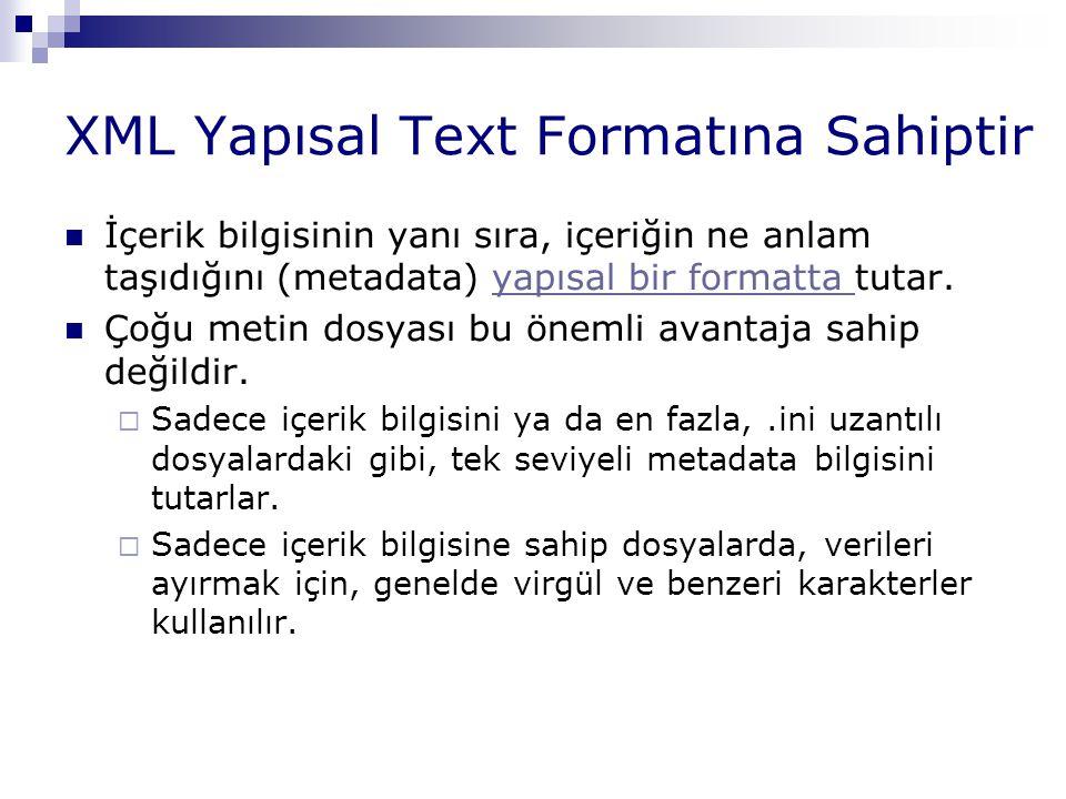 XML Yapısal Text Formatına Sahiptir