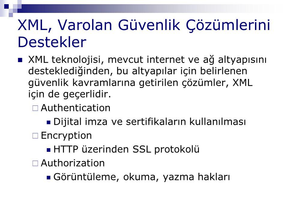 XML, Varolan Güvenlik Çözümlerini Destekler