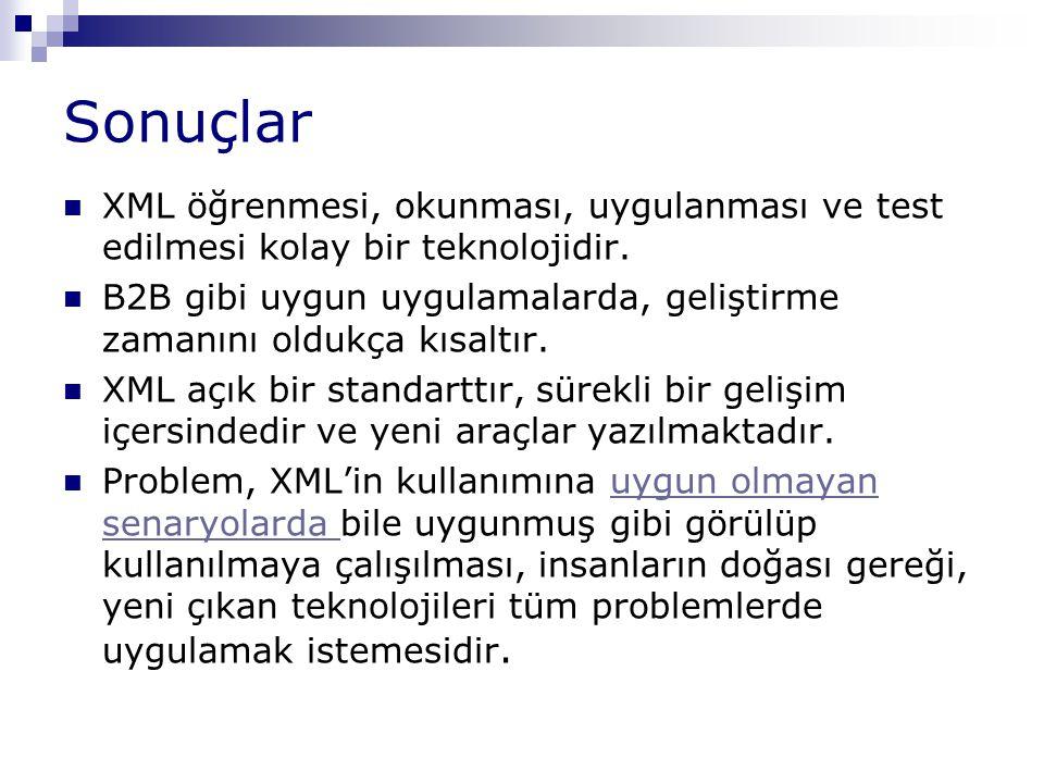 Sonuçlar XML öğrenmesi, okunması, uygulanması ve test edilmesi kolay bir teknolojidir.