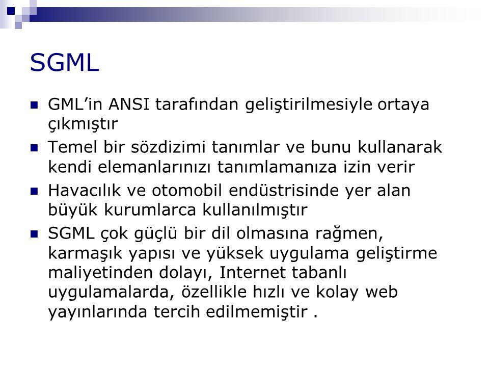 SGML GML'in ANSI tarafından geliştirilmesiyle ortaya çıkmıştır