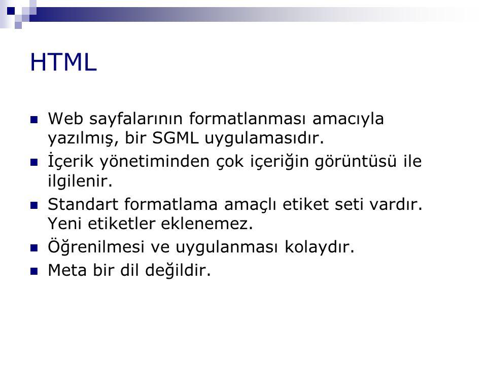 HTML Web sayfalarının formatlanması amacıyla yazılmış, bir SGML uygulamasıdır. İçerik yönetiminden çok içeriğin görüntüsü ile ilgilenir.