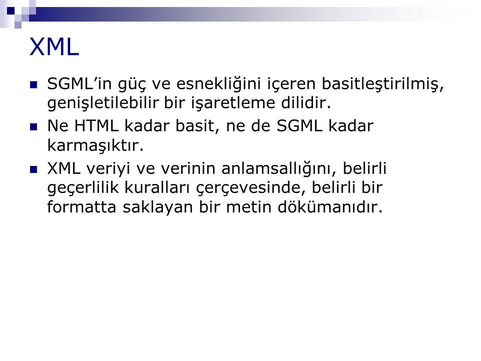 XML SGML'in güç ve esnekliğini içeren basitleştirilmiş, genişletilebilir bir işaretleme dilidir. Ne HTML kadar basit, ne de SGML kadar karmaşıktır.
