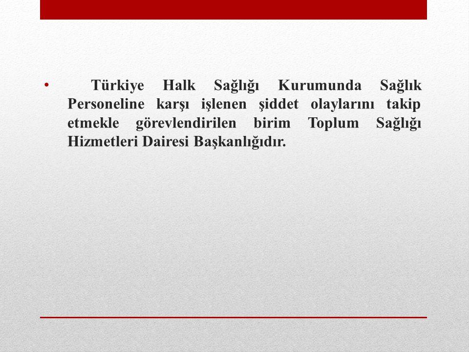 Türkiye Halk Sağlığı Kurumunda Sağlık Personeline karşı işlenen şiddet olaylarını takip etmekle görevlendirilen birim Toplum Sağlığı Hizmetleri Dairesi Başkanlığıdır.