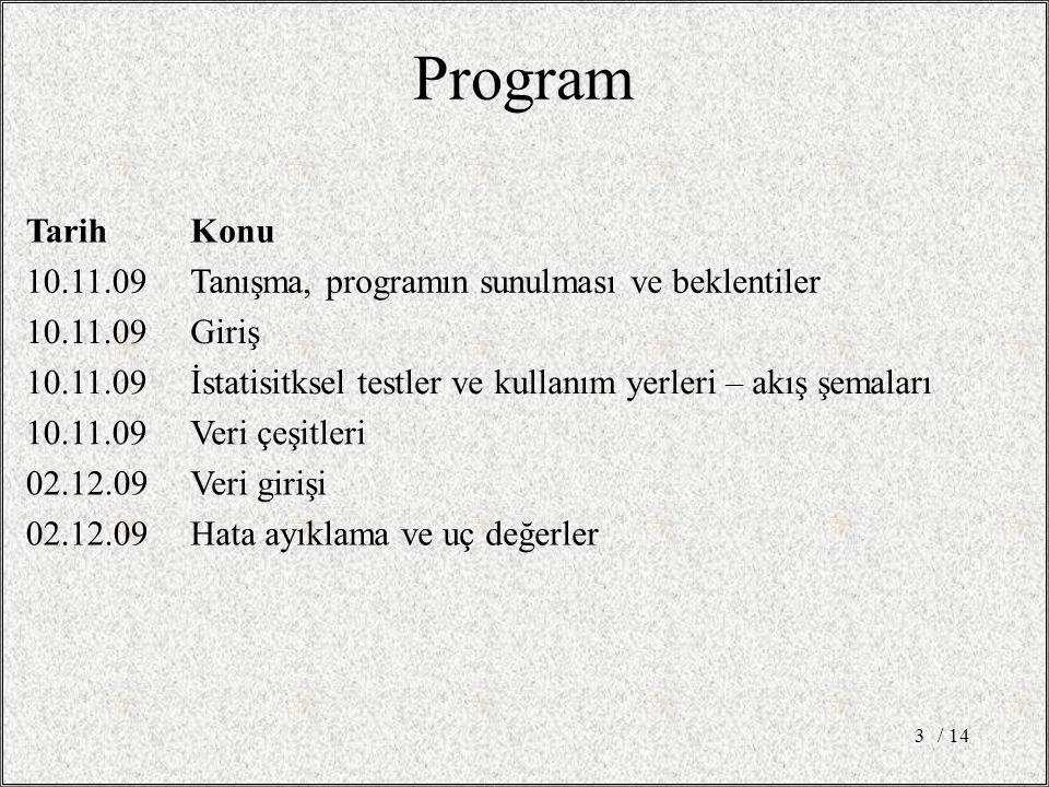 Program Tarih. Konu. 10.11.09. Tanışma, programın sunulması ve beklentiler. Giriş. İstatisitksel testler ve kullanım yerleri – akış şemaları.