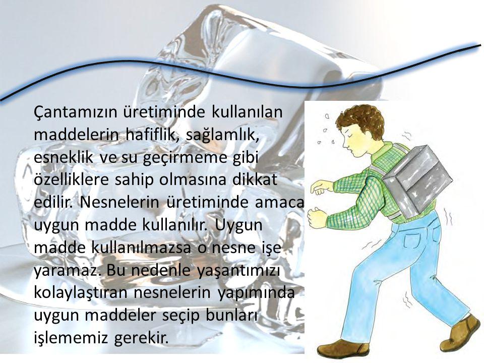 Çantamızın üretiminde kullanılan maddelerin hafiflik, sağlamlık, esneklik ve su geçirmeme gibi özelliklere sahip olmasına dikkat edilir.